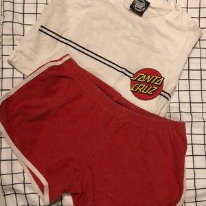 Women's Santa Cruz shirt with red shorts